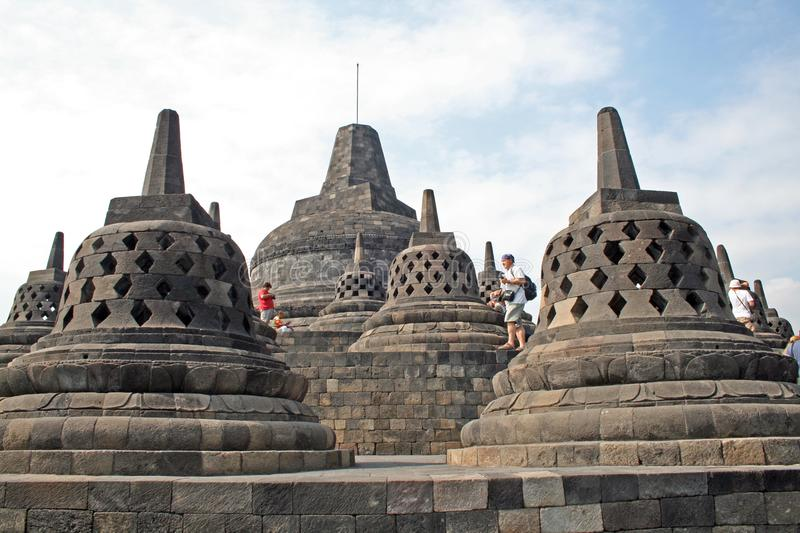 Borobudur bells. The top of the buddhist temple borobudur at java island in indonesia royalty free stock image