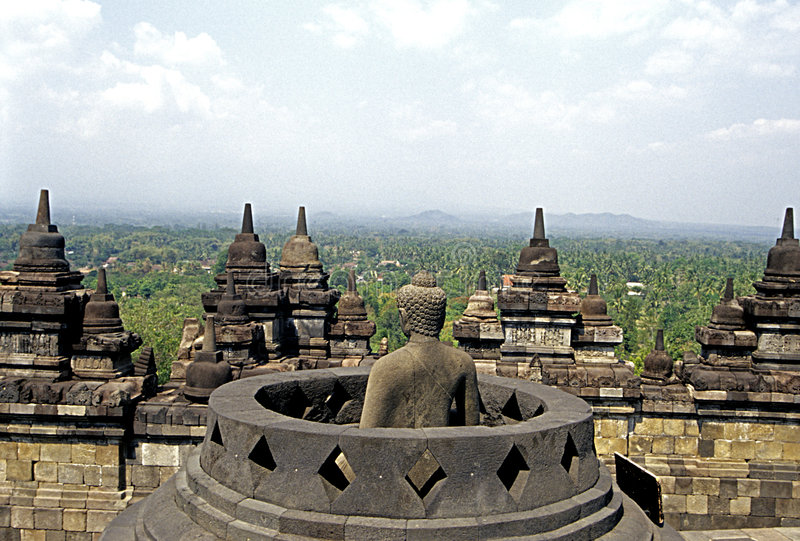 Borobudur_Buddha fotografie stock libere da diritti