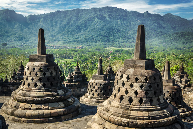 Borobudur Buddhist Temple. UNESCO World Heritage Site - Java, Indonesia royalty free stock photography