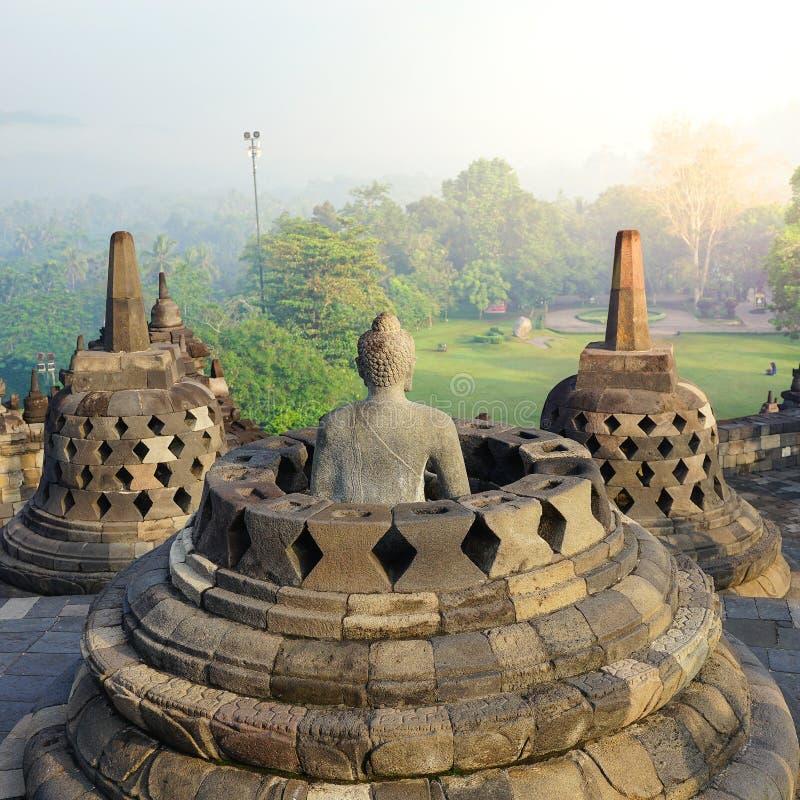 Borobudur, Buddist-Tempel in Yogyakarta, Indonesië stock afbeeldingen