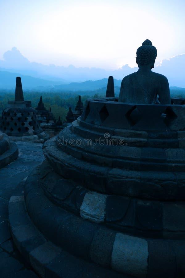 borobudur dusk Ινδονησία Ιάβα στοκ εικόνα