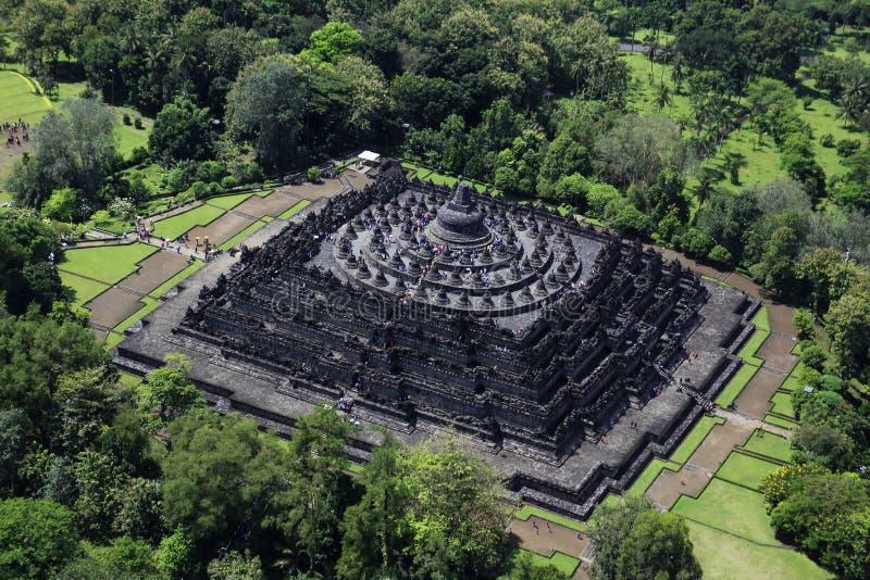 Borobudur flyg- sikt arkivbilder