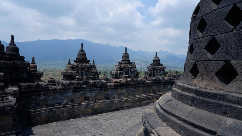Borobudur, Indonesia-September 28,2019:a UNESCO world heritage site of Borobudur temple compounds .A largest Mahayana Buddhist Tem. Ple in the world. Highlight royalty free stock image