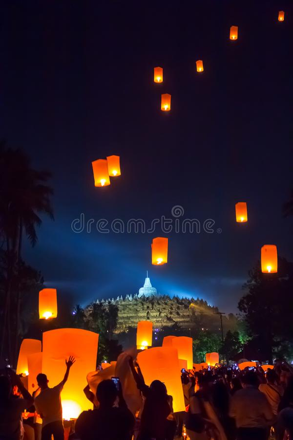Free BOROBUDUR, May 29th 2018: Lantern Flying Over Stupa Of Borobudur Temple. Waisak/ Vesakha/ Vesak Royalty Free Stock Image - 118343386