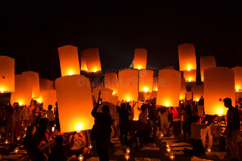 BOROBUDUR, May 29th 2018: Crowd of people in Borobudur Temple, before releasing thousands of lanterns royalty free stock photography