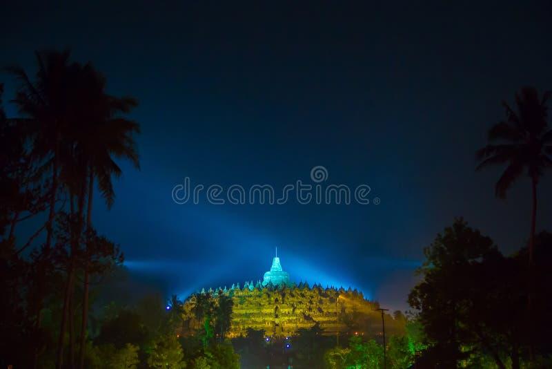 BOROBUDUR, 29 Mei 2018: Nachthemel van Borobudur-Tempel royalty-vrije stock foto