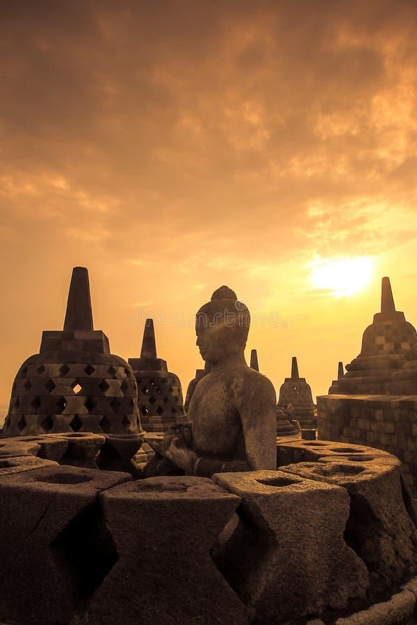 Borobudur. Morning View at Borobudur temple, Central Java Indonesia royalty free stock image