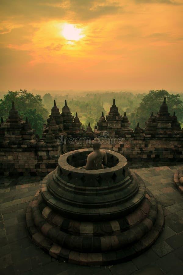 Borobudur. Morning View at Borobudur temple, Central Java Indonesia stock photo
