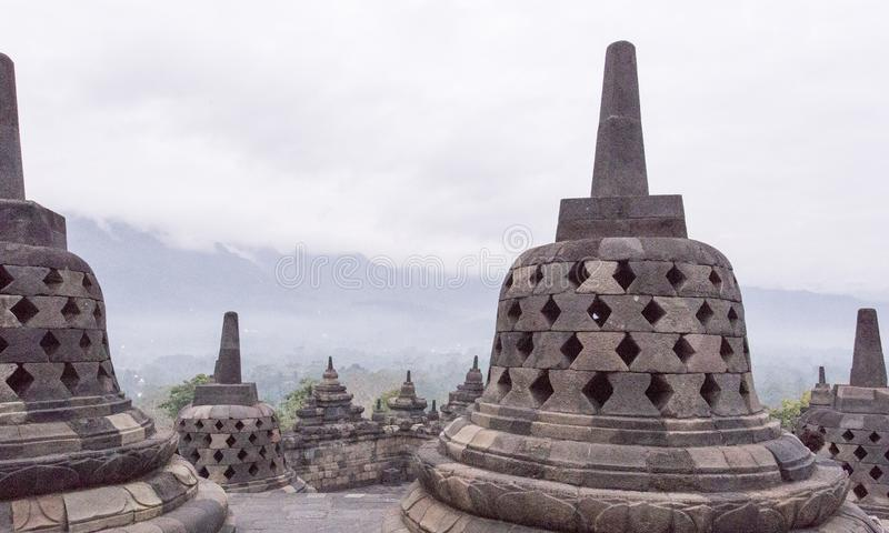 Borobudur no amanhecer em agosto fotografia de stock royalty free