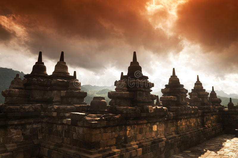 Borobudur Ruins. At Yogyakarta, Central Java, Indonesia royalty free stock photos