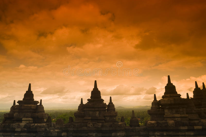 Borobudur Ruins. At Yogyakarta, Central Java, Indonesia royalty free stock photo