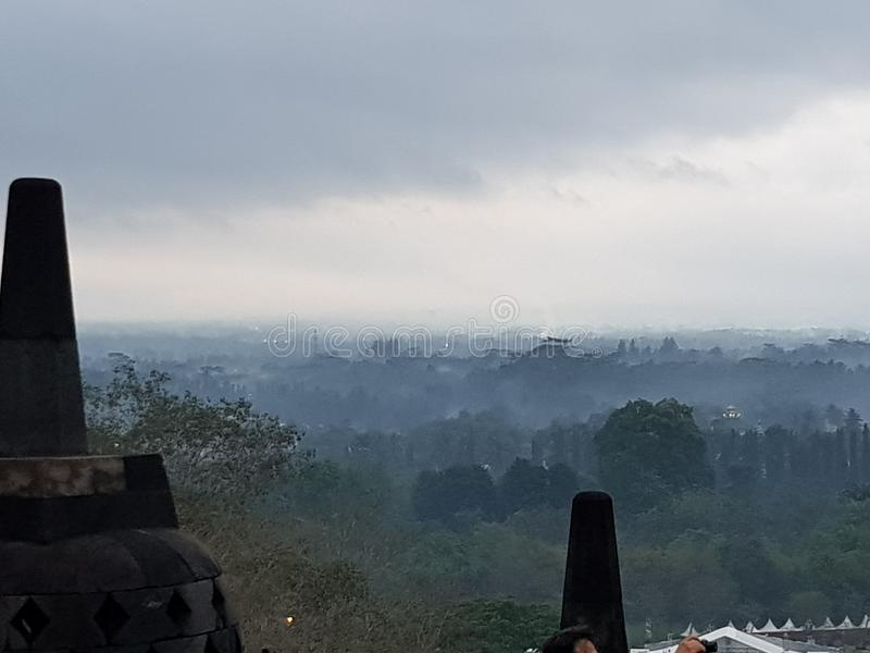 Borobudur& x27; s安静 库存照片