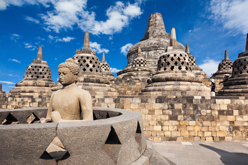 Borobudur Temple. Buddha statue in Borobudur Temple, Java island, Indonesia royalty free stock photography