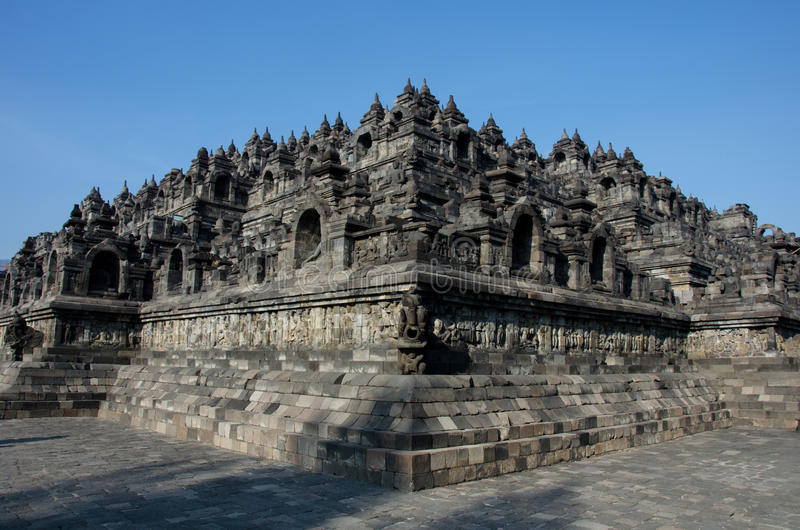 Borobudur Temple. The Indonesian temple, Borobudur, built in the symmetric Mandala pattern stock image