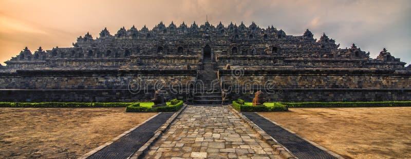 Borobudur temple in Java. Early morning in Borobudur temple stock photo
