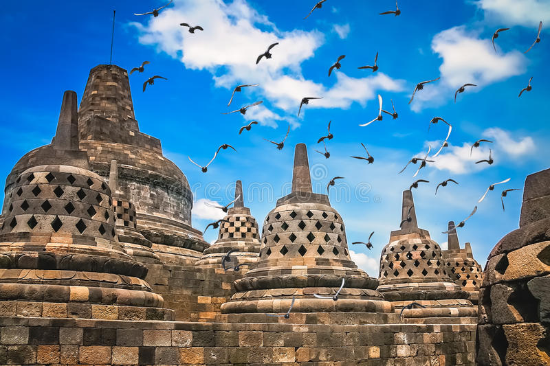 Borobudur Temple in Java. View of Borobudur temple in Jawa in Indonesia royalty free stock image
