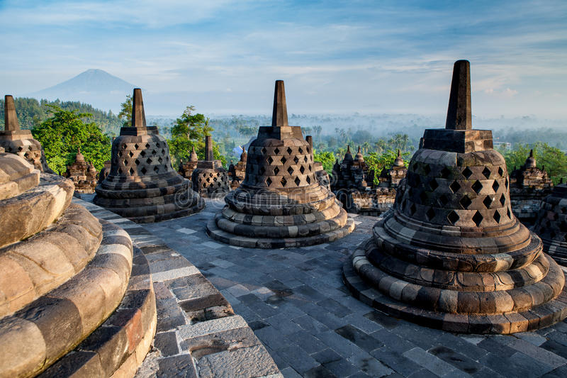 Borobudur Temple on top at sunrise royalty free stock photos