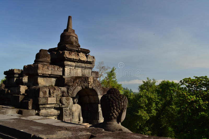 Borobudur. View from Borobudur temple, the largest buddhist temple in the world, Behind Mt Merapi volcano. Java, Indonesia stock images