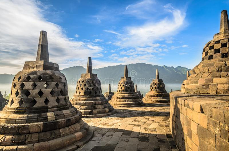 Borobudurtempel complex op het Eiland Java in Indonesi? stock afbeelding