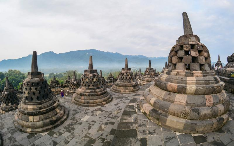 Borobudurtempel in Java Island, Indonesië stock afbeelding