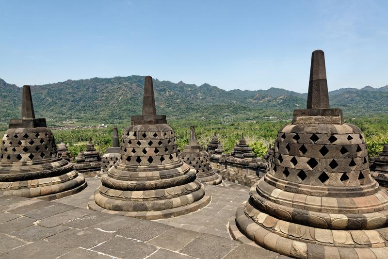 Borobudurtempel in Yogyakarta, Java, Indonesië stock afbeelding