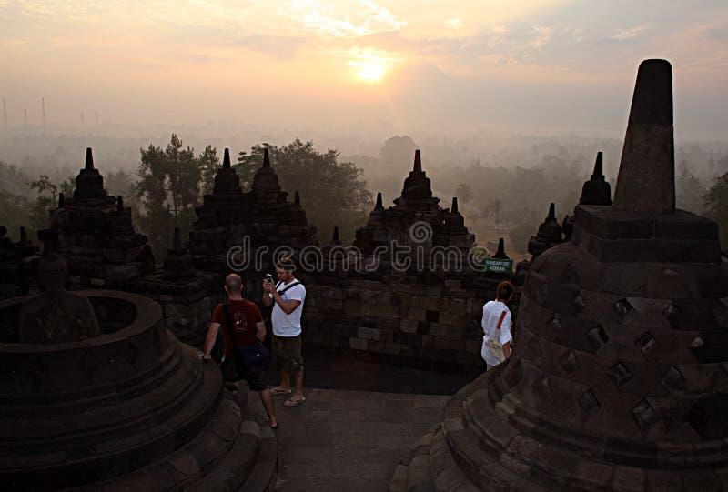 Borobudurzonsondergang royalty-vrije stock foto