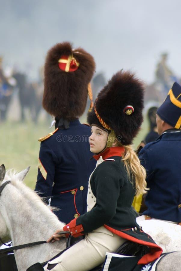 Borodino争斗历史再制定在俄罗斯,妇女画象 免版税库存图片