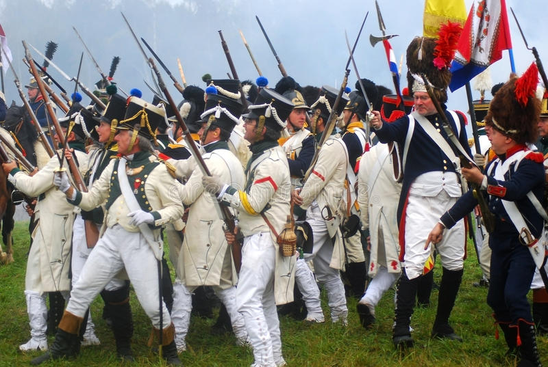 Borodino 2012 historical reenactment. MOSCOW REGION - SEPTEMBER 02: Unknown soldiers with bayonets at Borodino historical reenactment battle at its 200th stock images