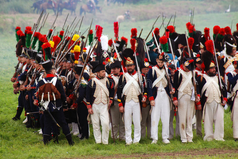 Borodino battle historical reenactment in Russia. BORODINO, MOSCOW REGION - SEPTEMBER 04, 2016: Reenactors dressed as Napoleonic war soldiers at Borodino battle stock photos