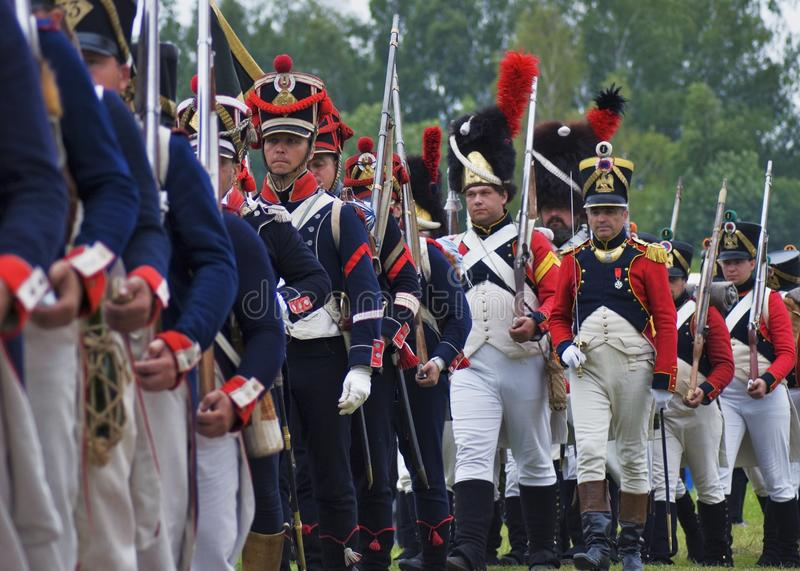 Borodino battle historical reenactment in Russia. Marching soldiers. BORODINO, MOSCOW REGION - SEPTEMBER 03, 2017: Borodino battle historical reenactment in stock images