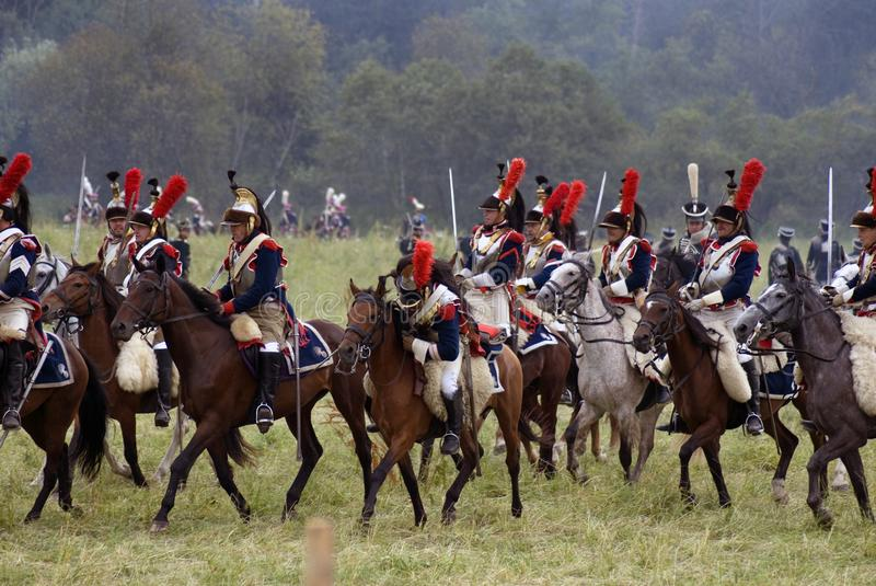 Cuirassiers at Borodino battle historical reenactment in Russia royalty free stock photo