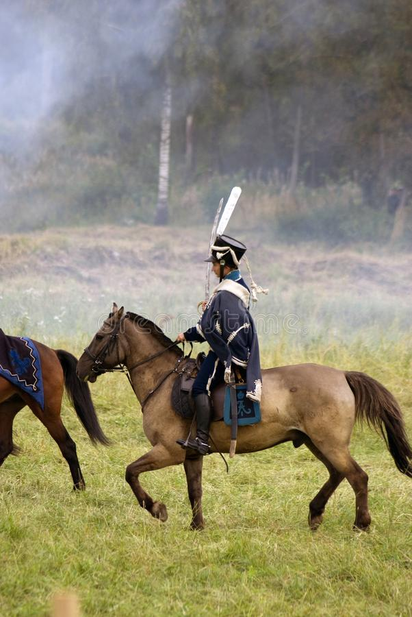 Borodino battle historical reenactment in Russia stock photos