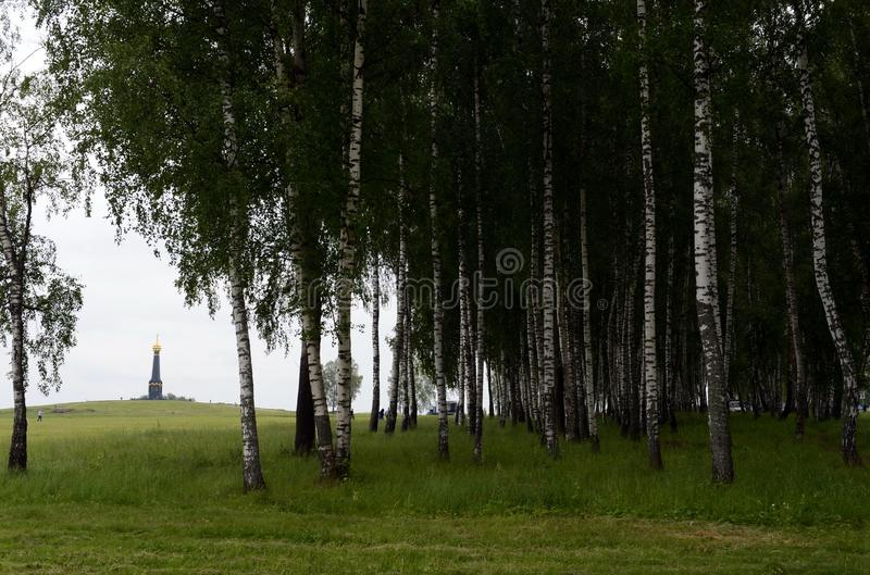 Borodino pole Widok główny zabytek Rosyjscy żołnierze, bohaterzy bitwa Borodino, na Rayevsky baterii fotografia stock