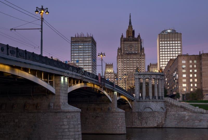 Borodinsky most i ministerstwo spraw zagranicznych Rus zdjęcie stock