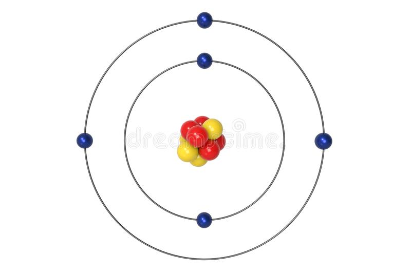 Boron Atom Bohr model with proton, neutron and electron. 3d illustration. Science and Chemical concept rendering image royalty free illustration
