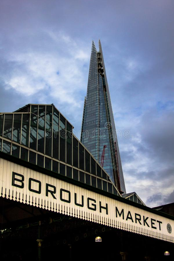 Borough Market with The Shard stock photography