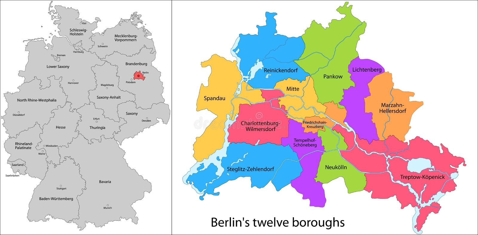 Boroughs of Berlin stock vector Illustration of europe 32719322
