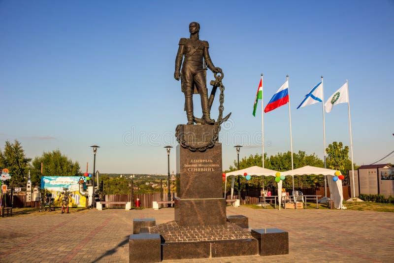 Borovsk, Rússia - 18 de agosto de 2018: Monumento ao almirante Dmitry Senyavin no quadrado fotografia de stock royalty free