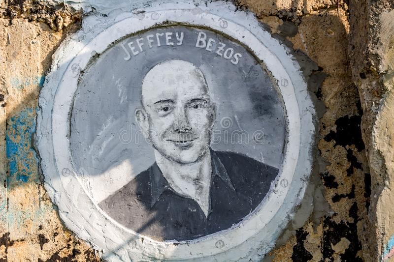 Borovsk, Russia - September 2018: Portrait of Jeff Bezos. Borovsk, Russia - September 2018: Street Art-object `The Ark` with images of famous figures of science royalty free stock photography