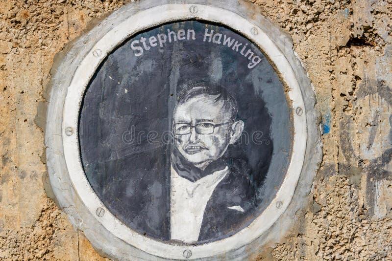 Borovsk, Russia - September 2018: Portrait of Stephen Hawking stock photography