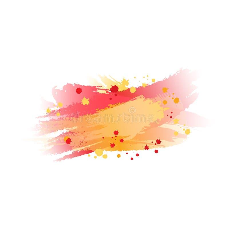 Borrão amarelo e alaranjado vermelho Curso da escova da aguarela Respingo da cor Mancha abstrata Fundo do vetor ilustração stock