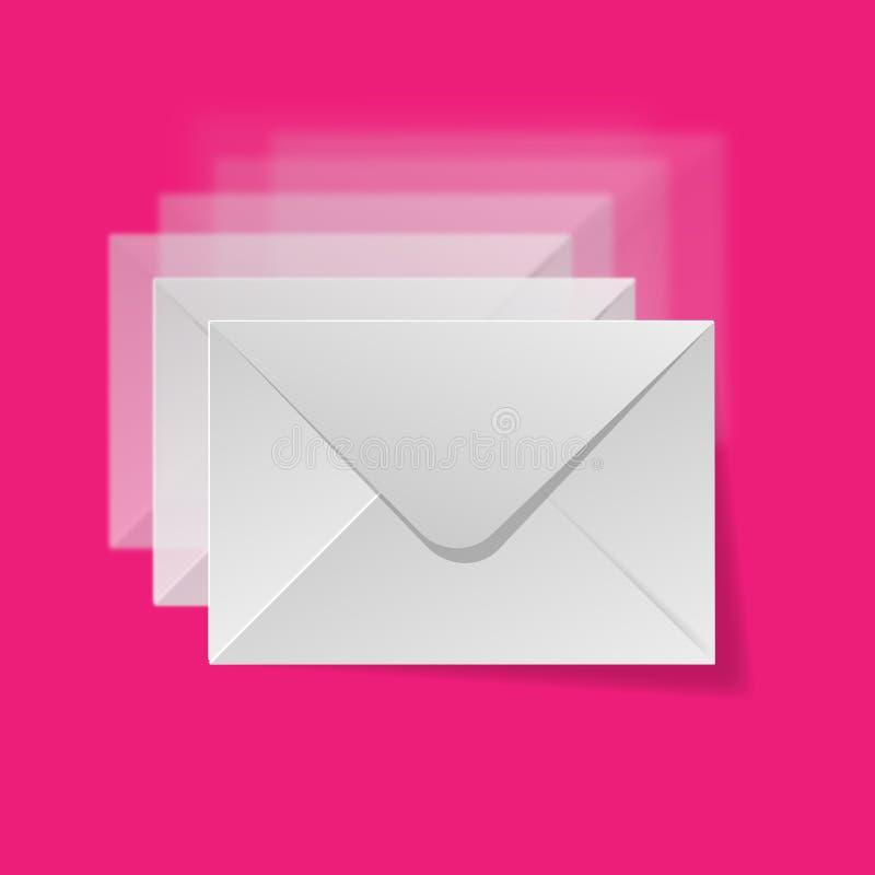 Borrão branco dos envelopes em um fundo cor-de-rosa ilustração stock