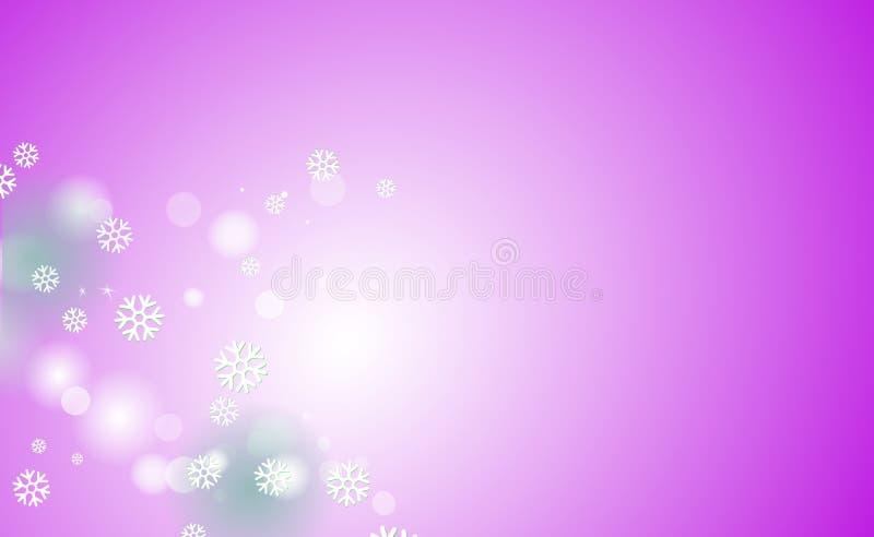 Borrão caótico para o Natal, anos novos, bokeh de flocos de neve claros no rosa do fundo Ilustração do vetor para o projeto e a d ilustração royalty free