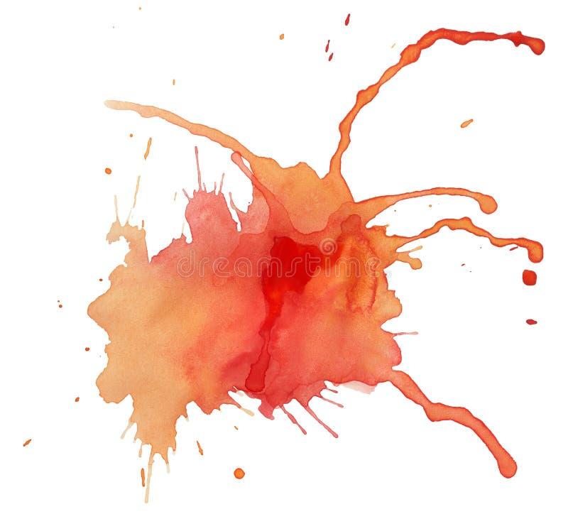 Borrão da aguarela vermelho-amarela ilustração stock