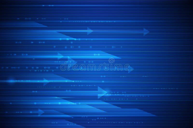 Borrão de alta velocidade do movimento e de movimento sobre escuro - fundo azul Futurista, olá! conceito da tecnologia da tecnolo ilustração do vetor