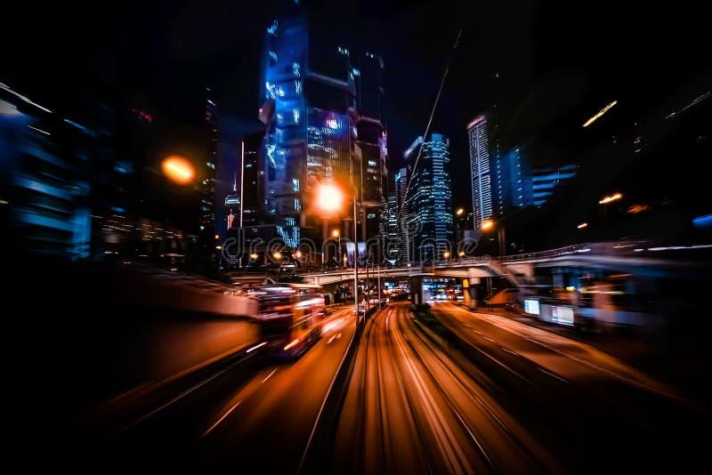 Borrão de movimento moderno da cidade Hon Kong Tráfego abstrato da arquitetura da cidade imagem de stock royalty free