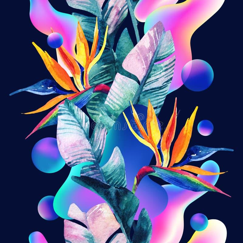 Borrão macio abstrato do inclinação, formas fluidas e geométricas coloridas, desenho da palma da aquarela ilustração do vetor