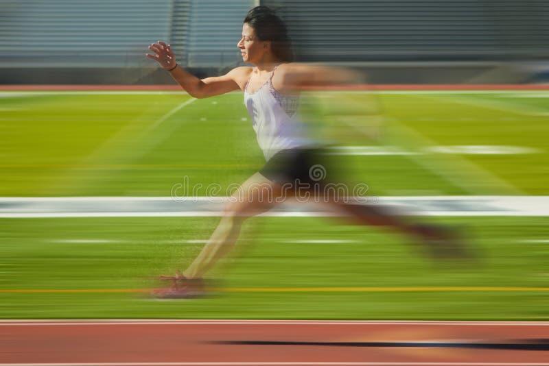 Borrão Running da mulher fotografia de stock
