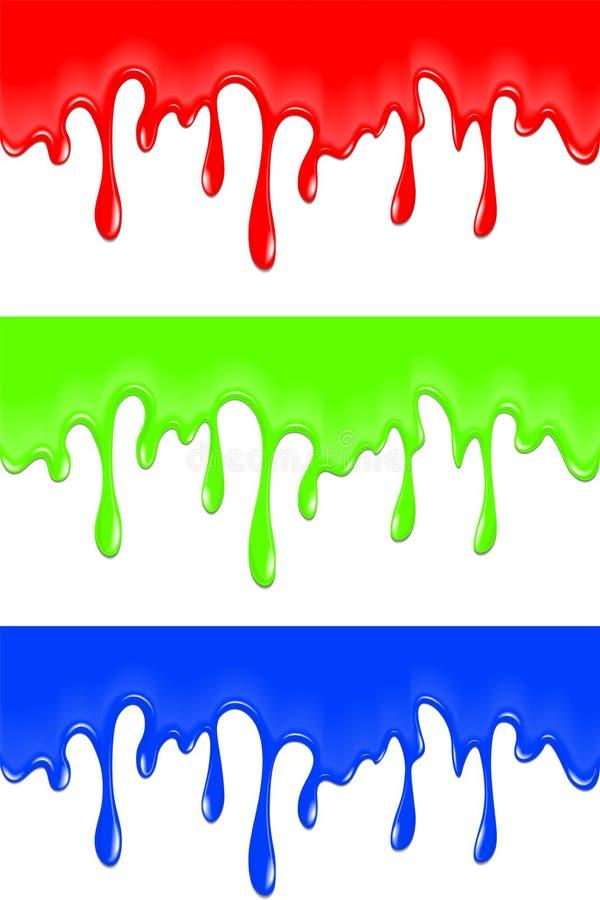 Borrões da pintura da cor, gotas para a faculdade criadora ilustração do vetor