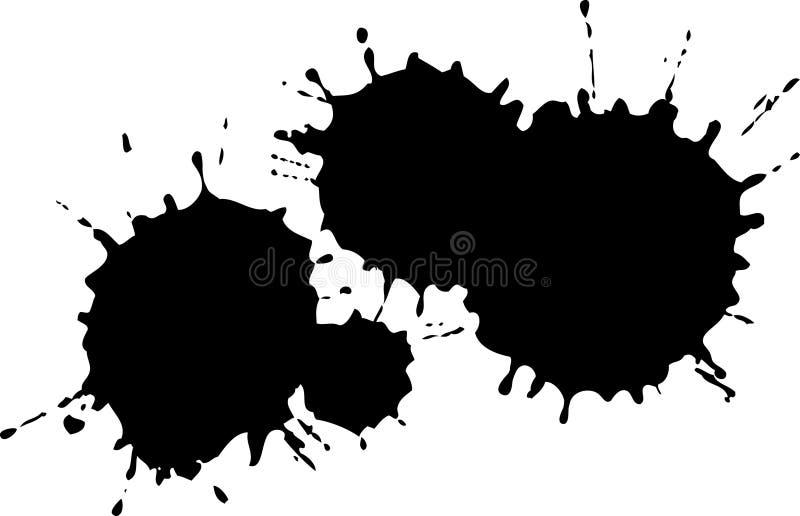 Borrões pretos da tinta ilustração do vetor